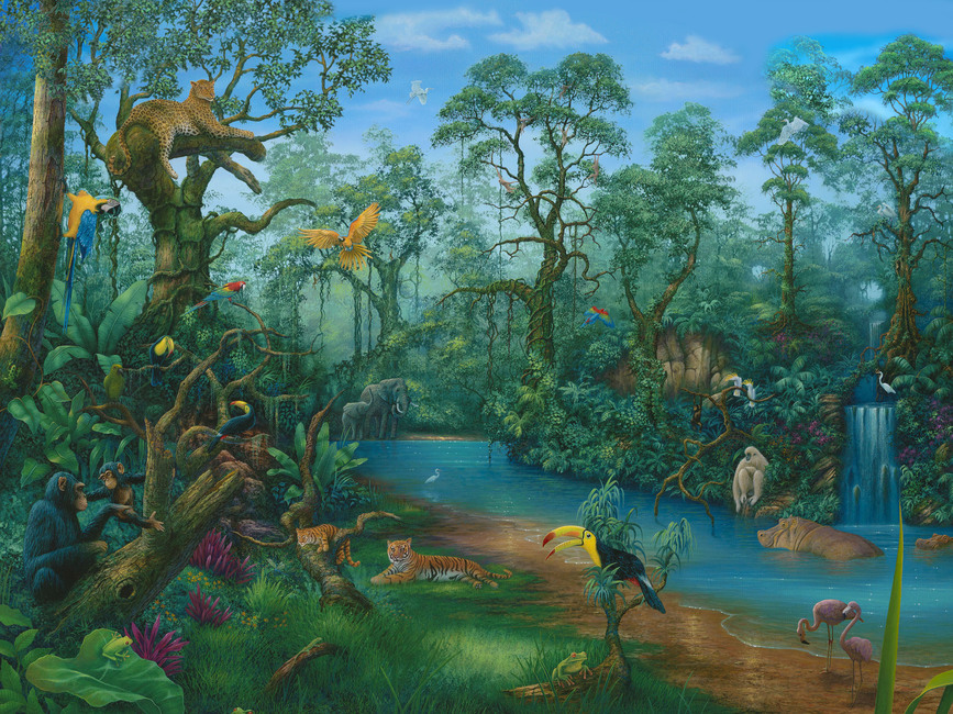 its a jungle out there wall mural amp photo wallpaper jungle mural jess arthur mural artist