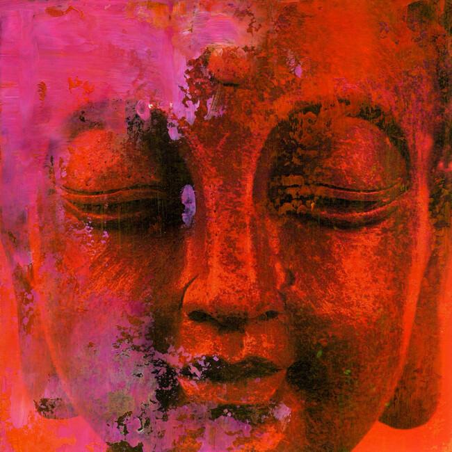 Red buddha wall mural photo wallpaper photowall for Buddha mural wallpaper