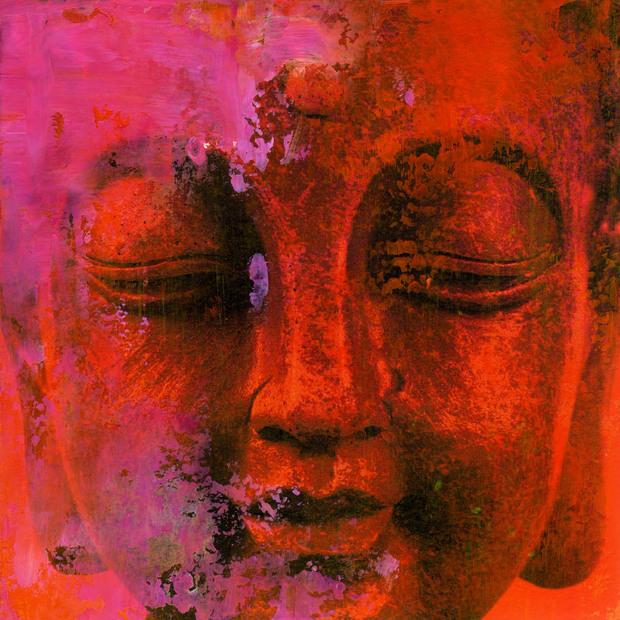 Red buddha wall mural photo wallpaper photowall for Buddha wall mural