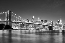 Canvastavla - Bright Brooklyn Bridge - b/w