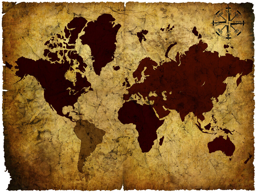 Old manuscript of world map wall mural photo wallpaper for Antique world map wallpaper mural