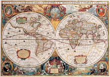 Leinwandbild - Antique Map - Henricus Hondius 1630