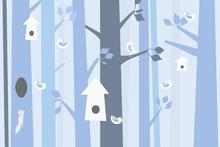 Fototapet - Birdforest - Blue