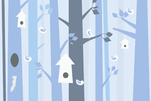 Wall mural - Birdforest - Blue