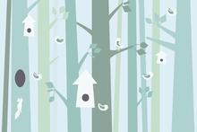 Wall mural - Birdforest - Green