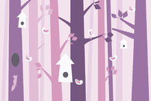 Canvas print - Birdforest - Pink