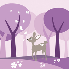 Fototapet - Deer in Purple Woods