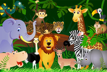 Wall mural - Happy Jungle Animals