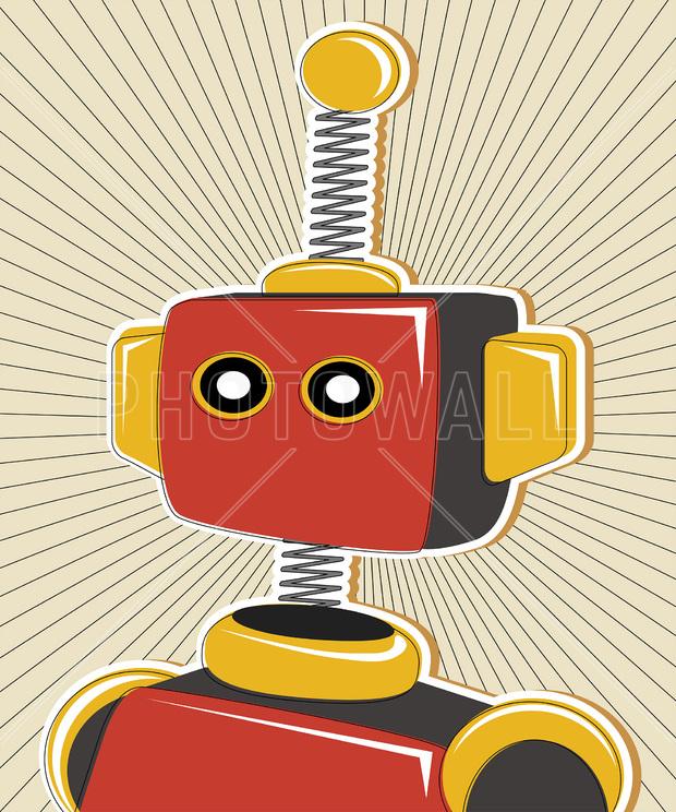 Retro Robot - Wall Mural & Photo Wallpaper - Photowall
