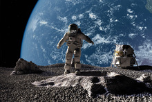 Leinwandbild - Astronaut with Earth in Background