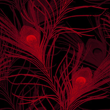 Wallpaper - Peacock Glowing Red