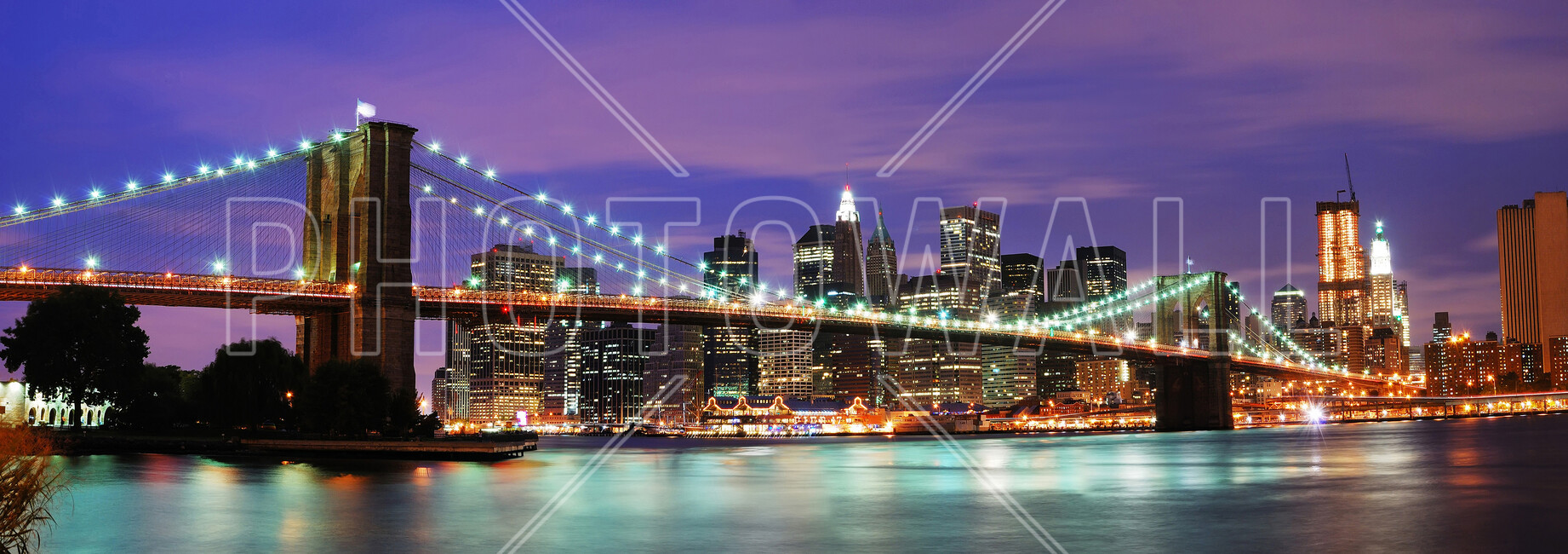brooklyn bridge at night bilder auf leinwand photowall. Black Bedroom Furniture Sets. Home Design Ideas