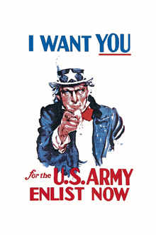 Canvastavla - Uncle Sam Enlist Now