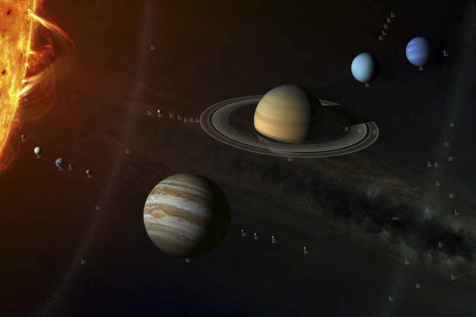 Solar System - With info labels - Wall Mural & Photo ...