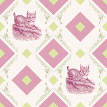 Wall mural - Young Lynx - Gooseframe - Pink Green