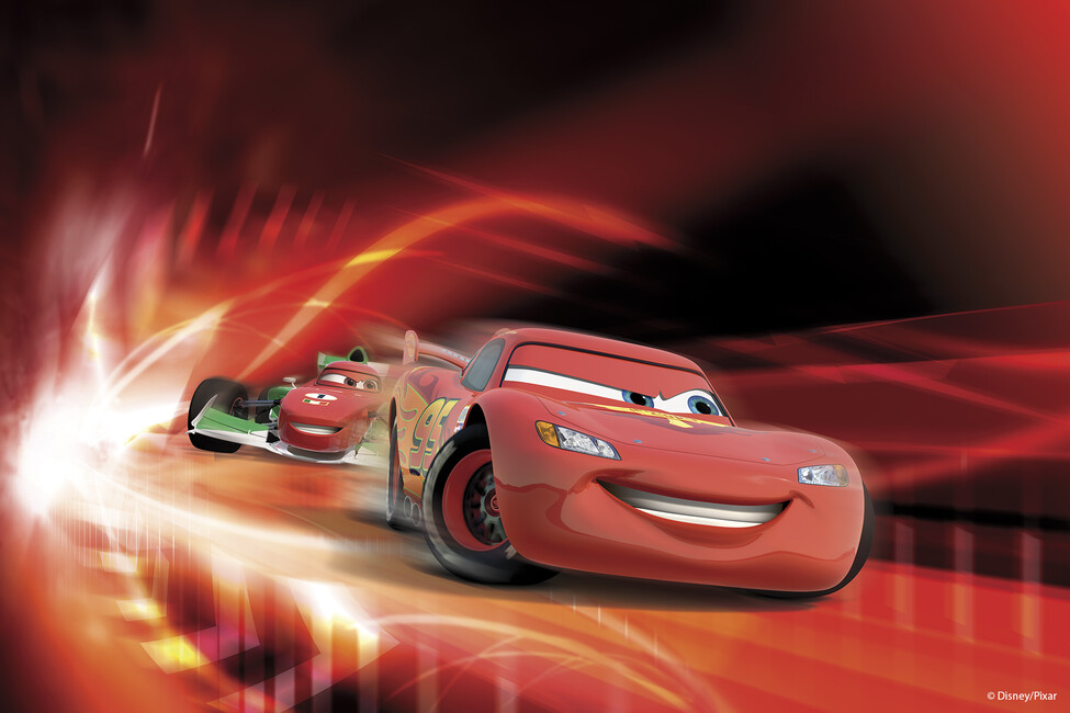 Cars red race wall mural photo wallpaper photowall for Cars mural wallpaper