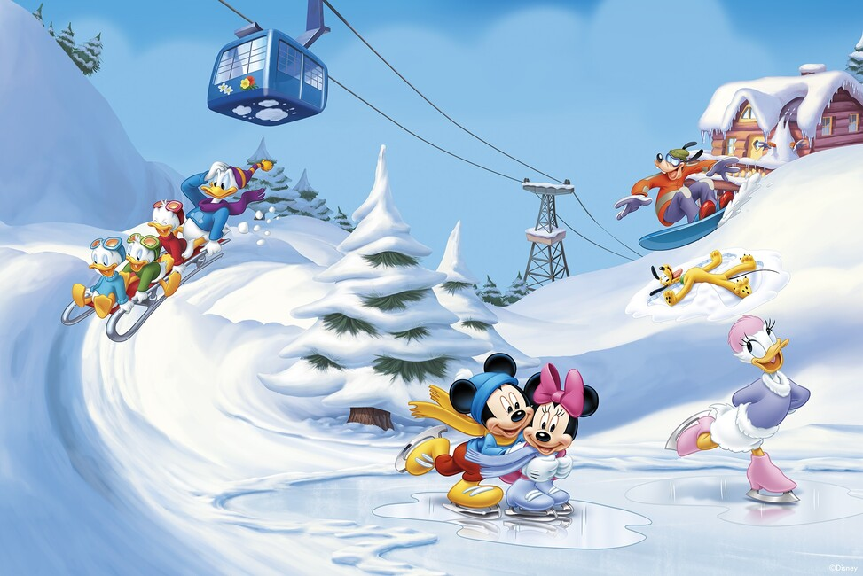 Mickey And Friends Winter Fun Wall Mural Amp Photo