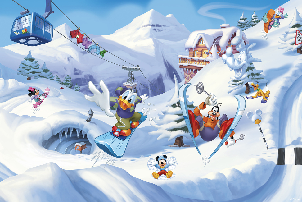 Mickey And Friends Skiing Wall Mural Amp Photo Wallpaper
