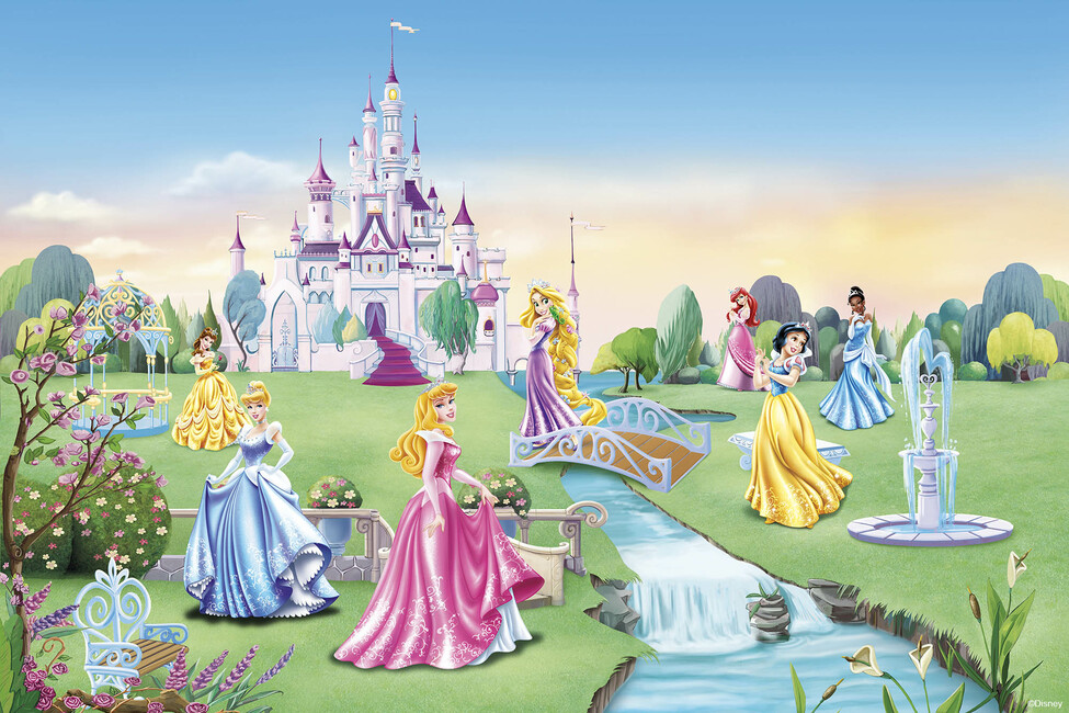 Princess castle children wallpaper wall mural for Disney princess castle mural