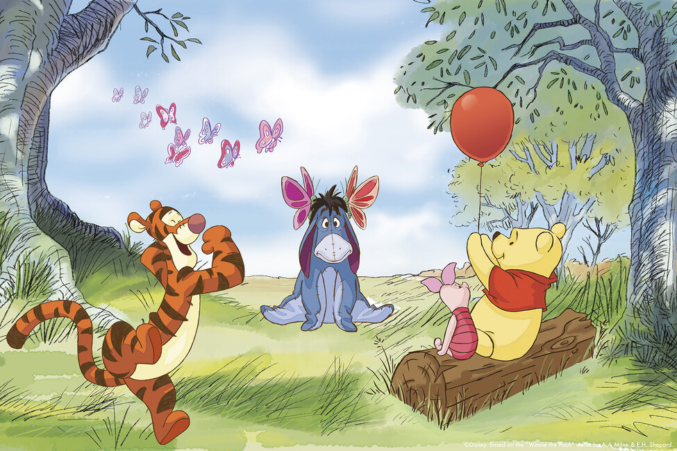 Winnie the pooh butterflies wall mural photo for Classic winnie the pooh wall mural