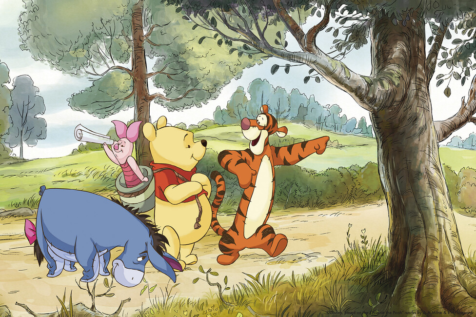 winnie the pooh scouting wall mural photo wallpaper. Black Bedroom Furniture Sets. Home Design Ideas