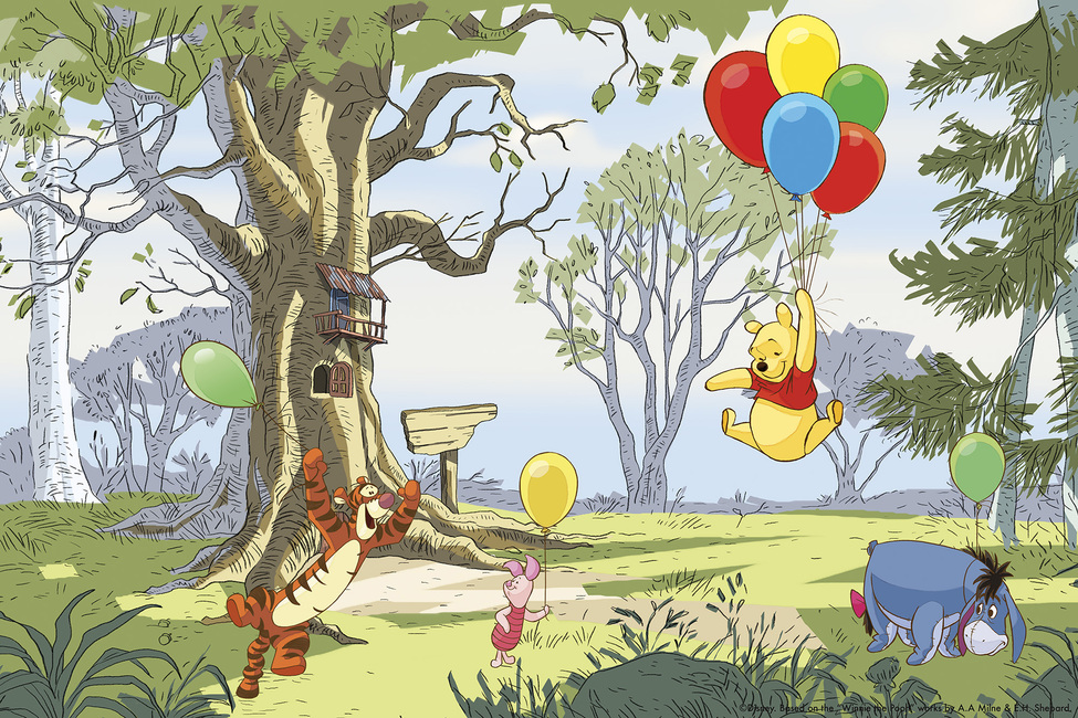 winnie the pooh up and away wall mural amp photo winnie the pooh wall murals huge realistic wall decor