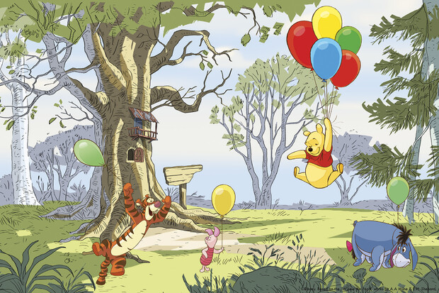 Winnie the pooh up and away wall mural photo for Baby pooh and friends wall mural