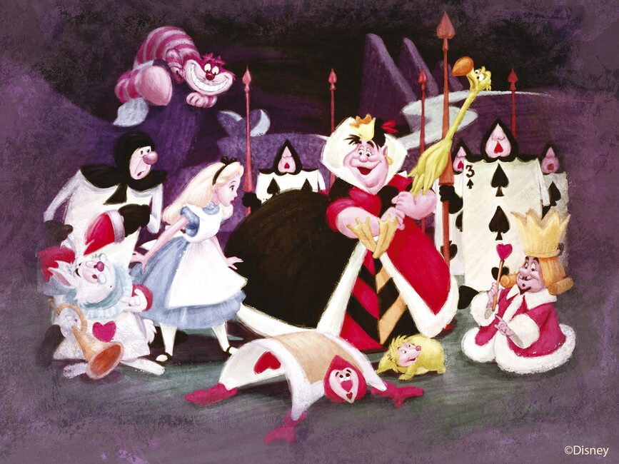 Disney classics alice in wonderland queen of hearts for Alice in wonderland wallpaper mural