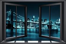 Wall mural - Blue Brooklyn Bridge Through Window