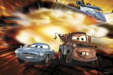 Canvasschilderij - Cars - McQueen, Siddeley and Mater Bomb