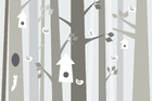 Fototapet - Bird Forest - Beige
