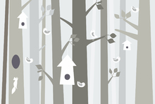 Wall mural - Bird Forest - Beige