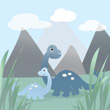 Wall mural - Dinoland - Blue