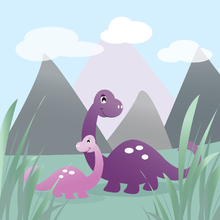 Wall Mural - Dinoland - Purple