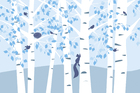 Wall Mural - Birch Forest - Blue