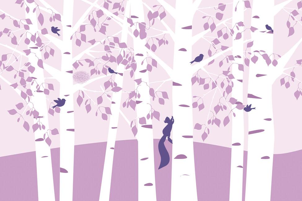 Birch forest pink wall mural photo wallpaper photowall for Birch forest wall mural