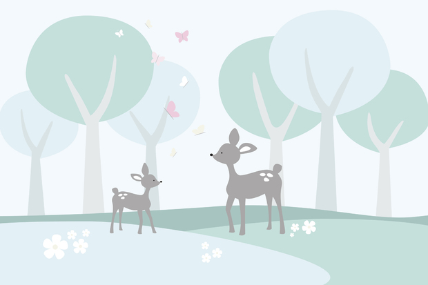 Deer in woods wall mural photo wallpaper photowall for Deer mural wallpaper