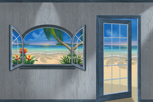 Fototapet - View of Paradise-Beachwood Grey