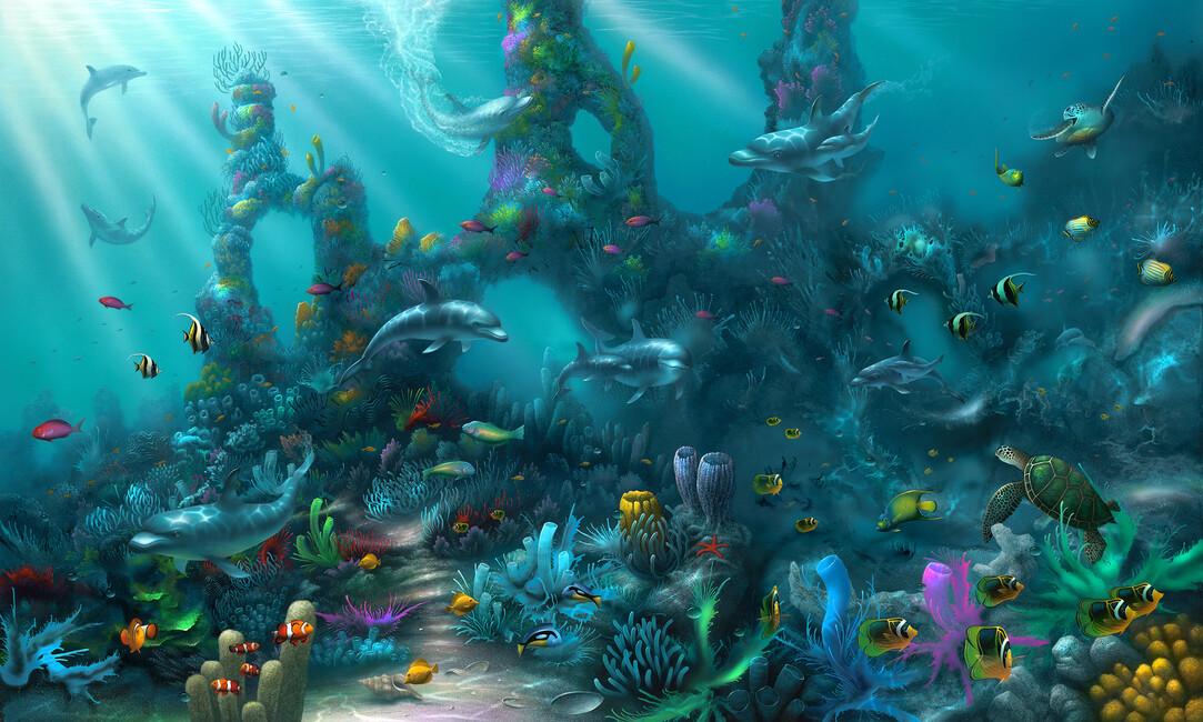 Dolphin paradise canvas print canvas art photowall for Dolphin paradise wall mural