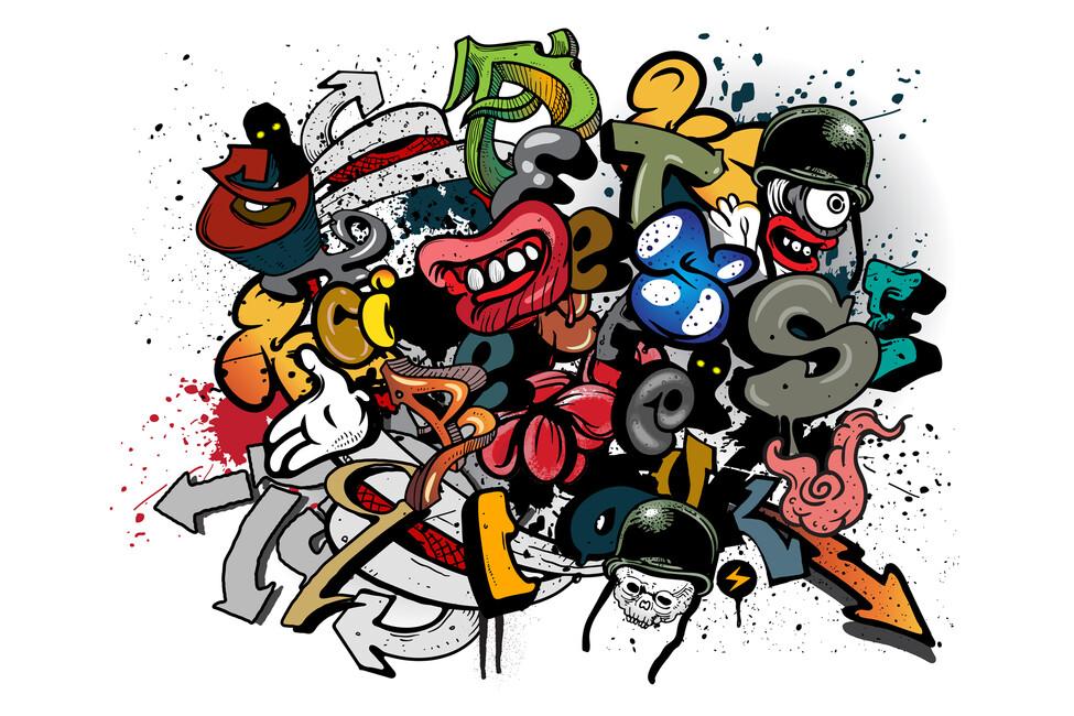 Graffiti Elements Wall Mural Photo Wallpaper Photowall