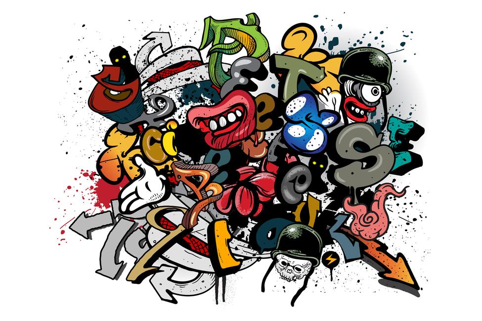 graffiti elements - wall mural  u0026 photo wallpaper