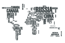 Fototapete - World in Wordcloud