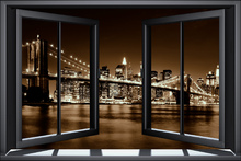 Wall mural - Brooklyn Bridge through Window - Yellow