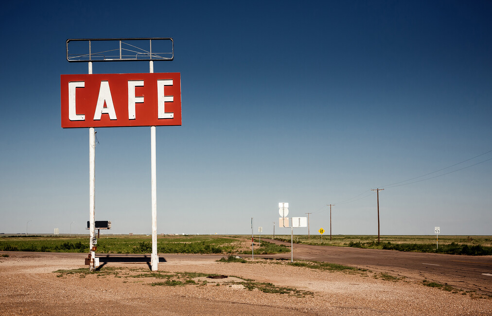 Cafe sign route 66 wall mural photo wallpaper photowall for Cafe mural wallpaper