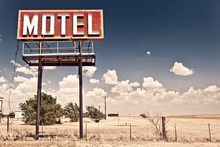Canvastavla - Old Motel Sign on Route 66