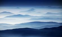 Fototapet - Foggy Blue Landscape
