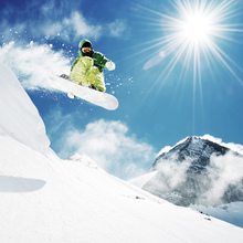 Canvas print - Snowboarder at Jump