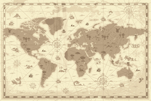 Fotobehang - World Map - Styled