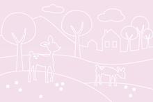 Wall mural - Deer World Lines - pink