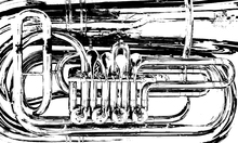 Canvastavla - Brass Horn Valve - Graphic Tuba